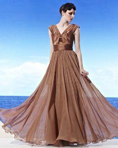 Elegant Bodenlange V-ausschnitt Reich Sicken Tencel Frau Abendkleid