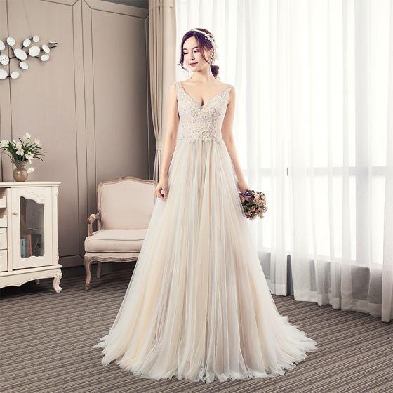 Charming Champagne Wedding Dresses 2019 A-Line / Princess V-Neck Beading Lace Sleeveless Backless Court Train