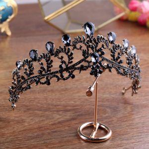 Vintage / Retro Baroque Black Tiara Bridal Hair Accessories 2020 Metal Rhinestone Wedding Accessories