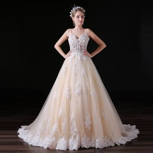 Elegant Champagne Wedding Dresses 2018 A-Line / Princess Appliques Lace Sequins Spaghetti Straps Backless Sleeveless Sweep Train Wedding
