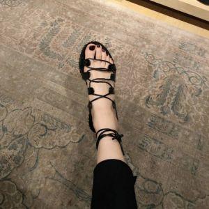 Unique 2017 Noire Plage PU Été Lanières Plate Plateforme Plat Peep Toes / Bout Ouvert Sandales Femme