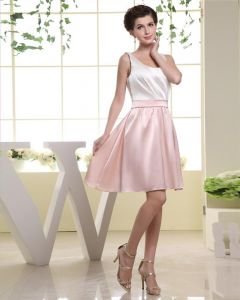 Sleeveless Round Neck Pleat Thigh Length Charmeuse A-Line Woman Little Black Party Dress