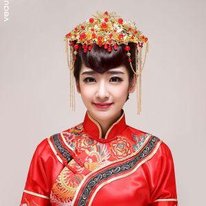 Style Chinois Mariée Coiffure / Dore Corolle / Accessoires De Cheveux De Mariage / Bijoux De Mariage