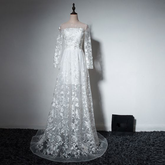 Elegant Beach White Wedding Dresses 2017 A-Line / Princess Square Neckline Long Sleeve Appliques Lace Court Train Ruffle Pierced Backless