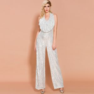 Sparkly Silver Sequins Jumpsuit 2020 Halter Sleeveless Backless Floor-Length / Long Evening Dresses
