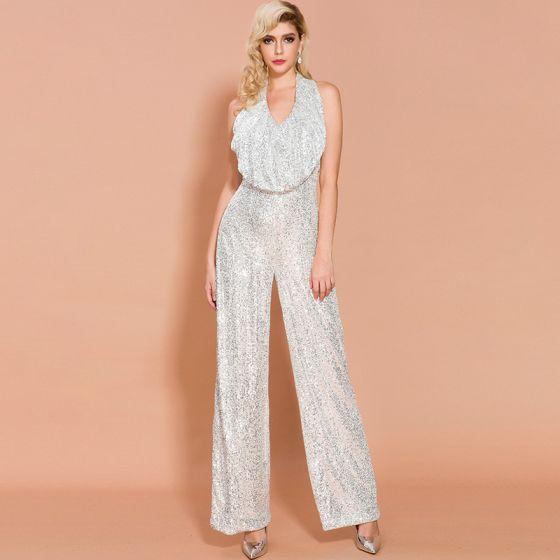 Sparkly Silver Sequins Jumpsuit 2020 Halter Sleeveless Backless Floor-Length / Long Evening Dresses