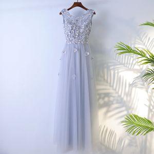 Schlicht Grau Brautjungfernkleider 2017 A Linie Mit Spitze Blumen Perlenstickerei Rückenfreies Rundhalsausschnitt Ärmellos Knöchellänge Kleider Für Hochzeit