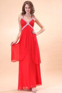 Magnifique Drapé Perles Licol Rouge Robes Du Soiree Longues