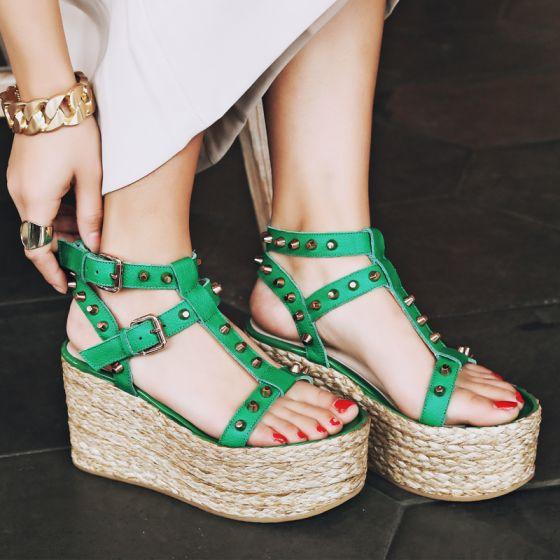 Moda 2017 Verde Exterior / Jardín Cuero Verano Remache High Heels Talones Gruesos Sandalias Peep Toe Sandalias De Mujer
