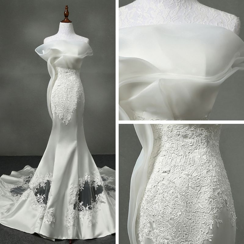Elegant Church Hall Wedding Dresses 2017 White Trumpet / Mermaid Cathedral Train Strapless Sleeveless Backless Lace Appliques