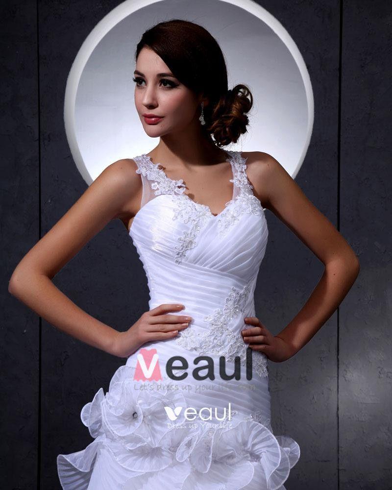 Elegant Lace Organza V-Neck Flower Beading Cathedral Train Mermaid Bridal Wedding Dress
