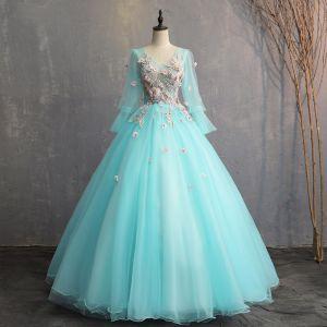 e30260c3f Hermoso Jade Verde Vestidos de gala 2019 A-Line   Princess V-Cuello Con