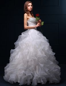 2015 Ballkleid Sweetheart Perlen Pailletten Organza Hochzeitskleider Brautkleid