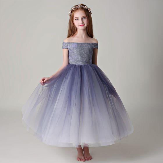 Chic / Belle Violet Robe Ceremonie Fille 2019 Robe Boule De l'épaule Manches Courtes Glitter Polyester Longueur Cheville Volants Dos Nu Robe Pour Mariage