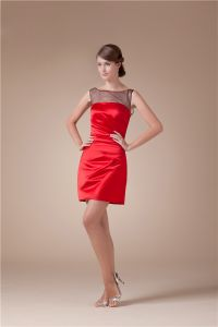 2015 Beautiful Tulle Neck Ruffle Satin Short Cocktail Dress Red Little Party Dress