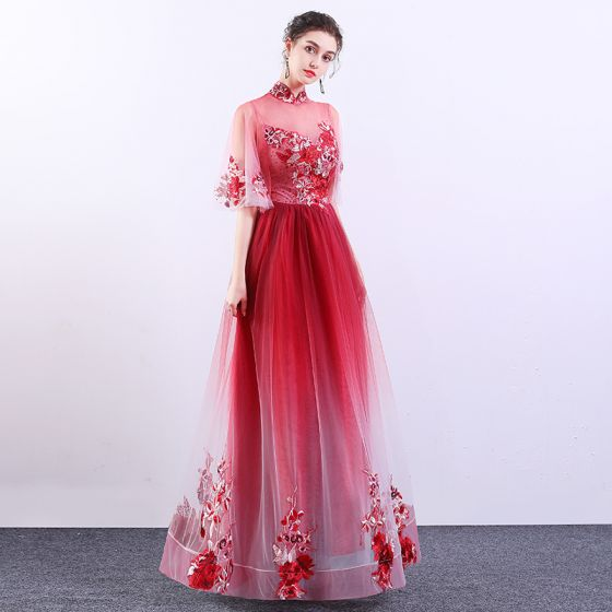 Chinese style Red Gradient-Color See-through Evening Dresses  2019 A-Line / Princess High Neck Bell sleeves Appliques Lace Rhinestone Floor-Length / Long Ruffle Formal Dresses