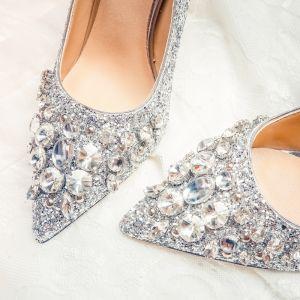 Scintillantes Argenté Chaussure De Mariée 2020 Cuir Faux Diamant Paillettes 10 cm Talons Aiguilles À Bout Pointu Mariage Escarpins