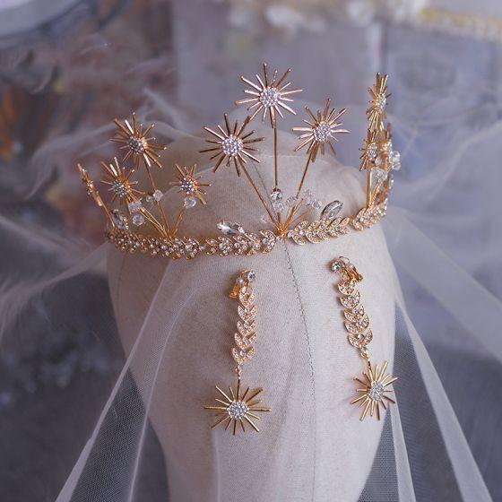 Snygga / Fina Guld Brud Huvudbonad 2019 Metall Blad Örhängen Tiara Kristall Rhinestone Bröllop Tillbehör