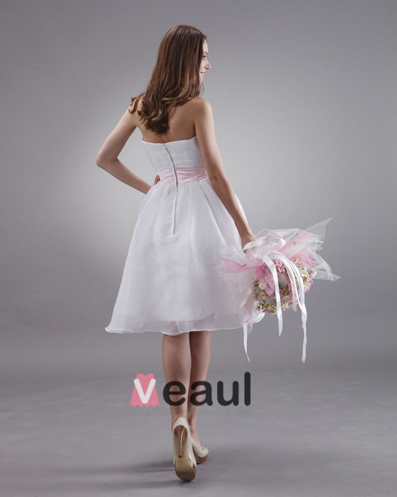 Charming Satin Sash Knee Length Strapless Bridesmaid Dress