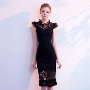 Niedrogie Czarne Przebili Sukienki Wieczorowe 2019 Wysokiej Szyi Bez Rękawów Długość do kolan Sukienki Wizytowe