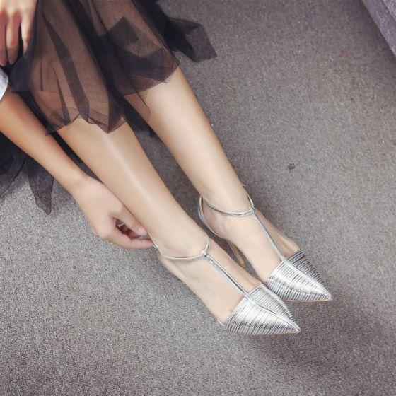Chic / Belle Argenté Soirée Cuir Chaussures Femmes 2020 Cuir Verni T-Strap 10 cm Talons Aiguilles À Bout Pointu Talons