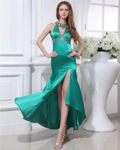 Elegant Charmeuse Beaded Jewel Asymmetrical Length Women Prom Dress