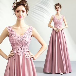 Modest / Simple Blushing Pink Prom Dresses 2019 A-Line / Princess V-Neck Lace Flower Sleeveless Backless Floor-Length / Long Formal Dresses