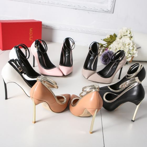 Modest / Simple Blushing Pink Office Pumps 2019 Ankle Strap 12 cm Stiletto Heels Pointed Toe Pumps