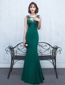 Sexy Backless Evening Dress 2017 Green Satin Long Formal Dress