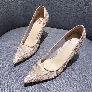 Charming Champagne See-through Flower Lace Wedding Shoes 2020 8 cm Stiletto Heels Pointed Toe Wedding Pumps
