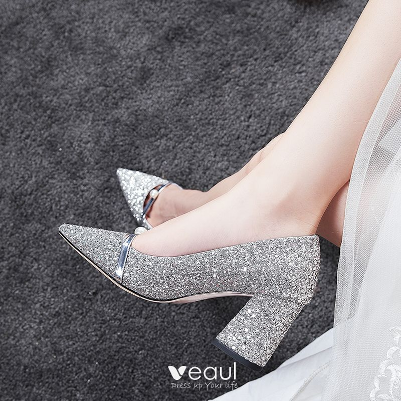 Hermoso Plata Zapatos de novia 2020 7 cm Rebordear Perla Boda Fiesta Noche Punta Estrecha Zapatos De Mujer