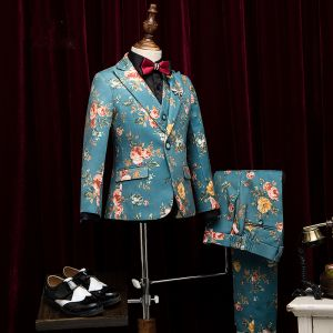 Amazing / Unique Jade Green Printing Flower Polyester Boys Wedding Suits 2019