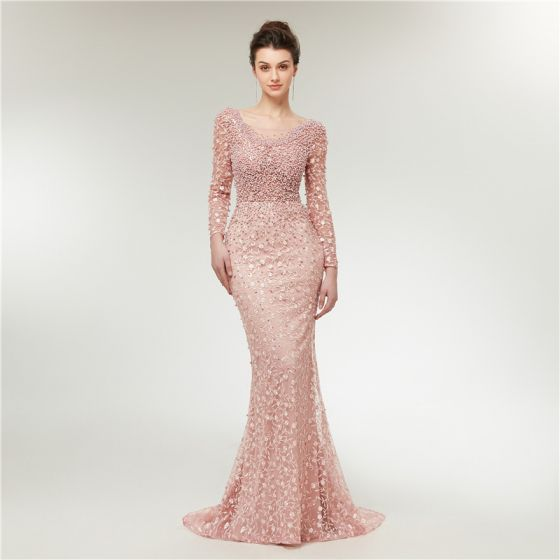 High-end Pearl Pink See-through Evening Dresses  2020 Trumpet / Mermaid Scoop Neck Long Sleeve Appliques Lace Beading Pearl Sweep Train Ruffle Backless Formal Dresses