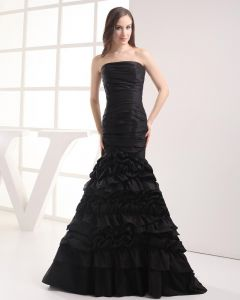 Fashion Taffeta Pleated Strapless Floor Length Celebrity Mermaid Prom Dress