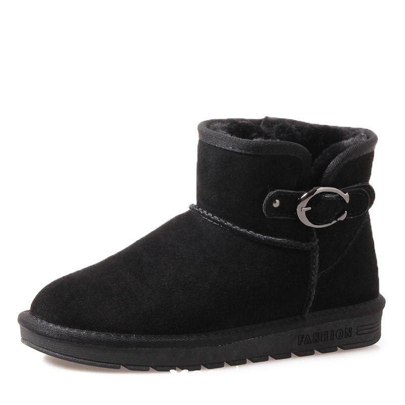Désinvolte Neige Bottes Chaussures Daim Moderne Cuir Plate Mode Femmes Bottines Boucle Hiver Noire De 2017 wOP0nk