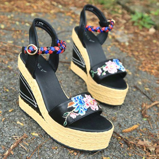 Etnisch Zwarte Toevallig Leer Sandalen Dames 2020 Geborduurde 5 cm Sleehakken Peep Toe Sandalen