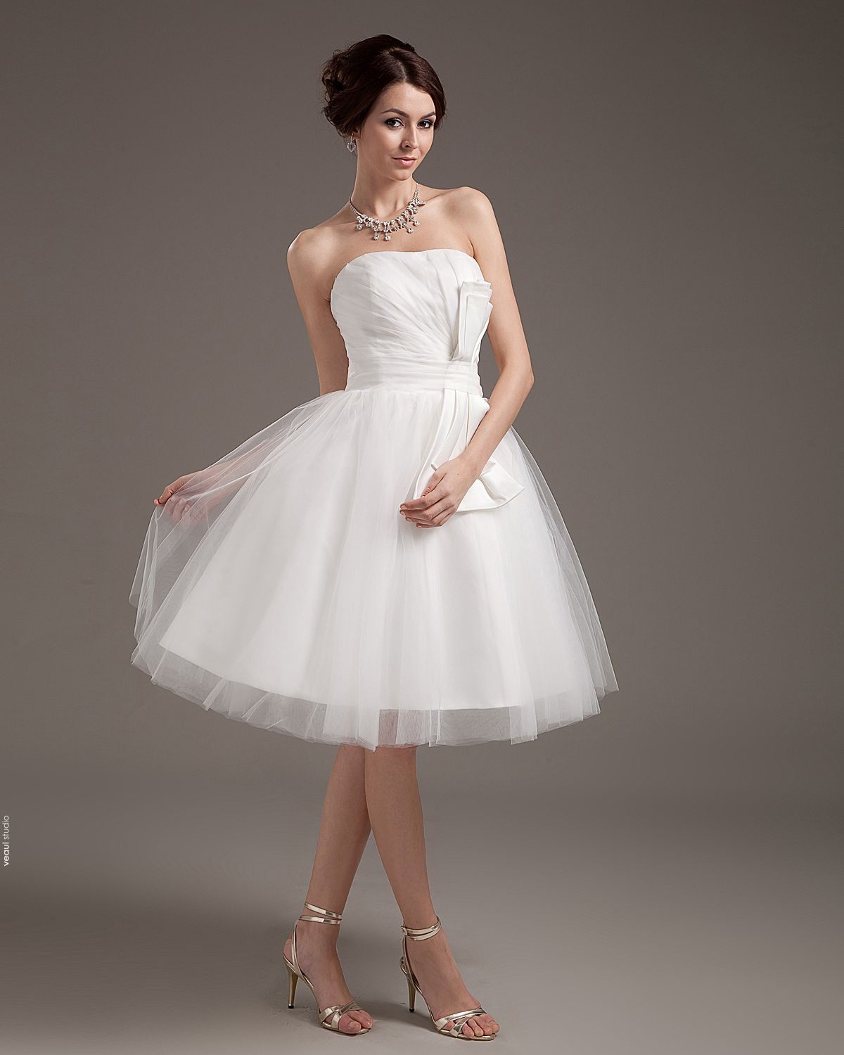 Yarn Ruffle Short Bridal Gown Wedding Dress