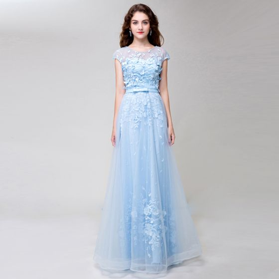 Chic / Beautiful Sky Blue Evening Dresses  2018 A-Line / Princess Lace Appliques Bow Scoop Neck Backless Short Sleeve Floor-Length / Long Formal Dresses