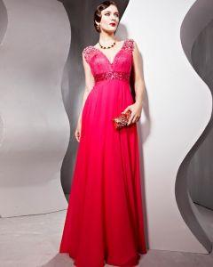 Chiffon Sequin Tulle Charmeuse V Neck Beading Floor Length Evening Dresses