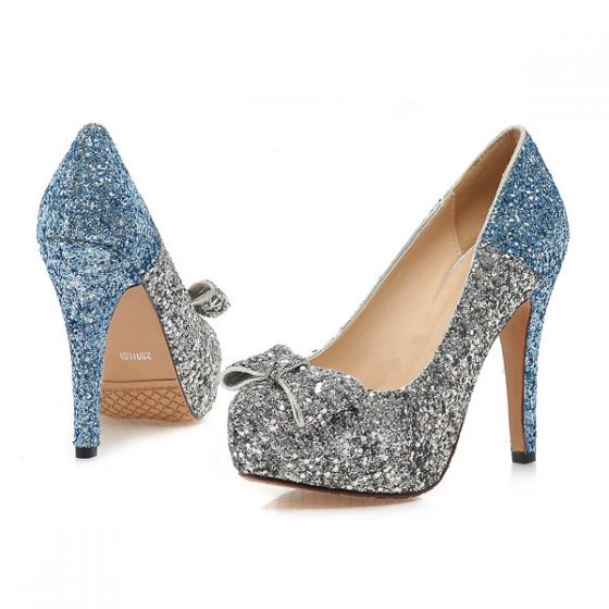 Sparkly Silver & Blue Pumps Glitter High Heels Womens Stiletto Heels With Bow