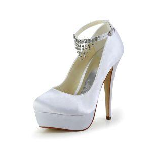Eleganckie Białe Buty Ślubne Satynowe Szpilki Buty Na Platformie Z Kryształu Górskiego