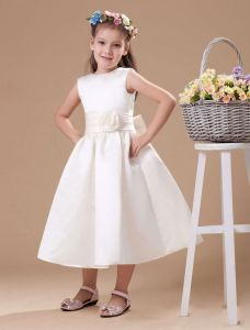 Ivory Satin Sash Flower Girl Dress