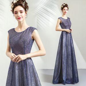 Bling Bling Navy Blue Evening Dresses  2019 A-Line / Princess Scoop Neck Sleeveless Glitter Tulle Sash Floor-Length / Long Ruffle Backless Formal Dresses