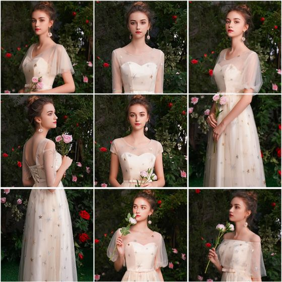 Affordable Champagne See-through Bridesmaid Dresses 2019 A-Line / Princess Star Sequins Appliques Lace Bow Sash Floor-Length / Long Backless Wedding Party Dresses