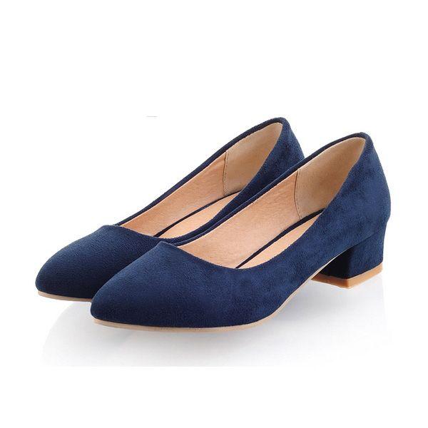 Escarpin Bleu Marine Classique Petit Talon En Daim Chaussures Femmes