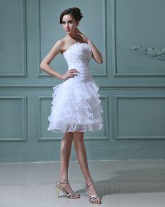 Organza Überlagerte Kurze Brautkleider Hochzeitskleid