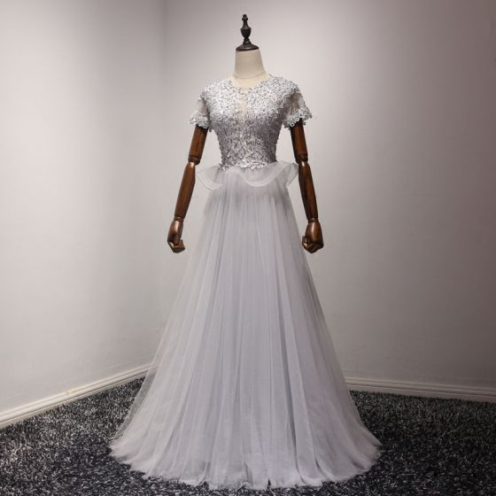 Hermoso Plata Vestidos de noche 2017 A-Line / Princess Tul U-escote Apliques Sin Espalda Rebordear Noche Vestidos Formales