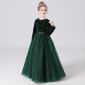 Mode Vert Foncé Hiver Anniversaire Robe Ceremonie Fille 2021 Princesse Encolure Dégagée Manches Longues Paillettes Ceinture Longue Volants