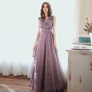 Schöne Violett Abendkleider 2020 A Linie Rundhalsausschnitt Ärmellos Perlenstickerei Star Stickerei Pailletten Lange Rüschen Rückenfreies Festliche Kleider