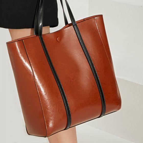 Braun Quadratische Freizeit Schultertaschen Umhängetasche Handtasche 2021 Leder Damentaschen